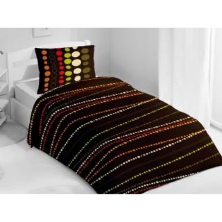 Housse de couette et taie d'oreiller Poudrier chocolat - 140 x 200 - 100% Coton