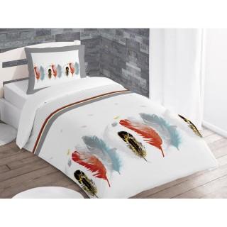 Housse de couette et taie d'oreiller Plume Blanc - 140 x 200 - 100% Coton
