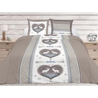 Housse de couette et 2 taies d'oreiller Cocoon Taupe - 220 x 240 - 100% Coton