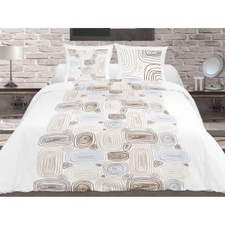 Housse de couette et 2 taies d'oreiller Terra Nova Blanc - 220 x 240 - 100% Coton