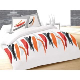 Housse de couette et 2 taies d'oreiller Tulle Blanc - 220 x 240 - 100% Coton