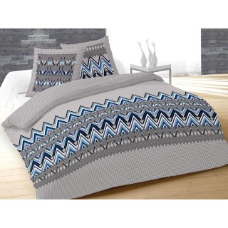 Housse de couette et 2 taies d'oreiller Arrow Bleu - 240 x 260 - 100% Coton