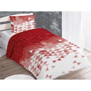Housse de couette et taie d'oreiller Try Rouge - 140 x 200