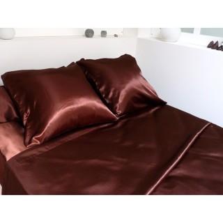 Parure de lit 4 pièces Satin Chocolat - 240 x 300