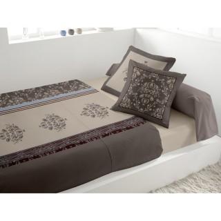 Parure de lit 4 pièces Miskolc gris - 240 x 300 - 100% coton