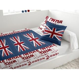 Parure de lit 5 pièces Union Jack Blanc - 240 x 300 - 100% coton
