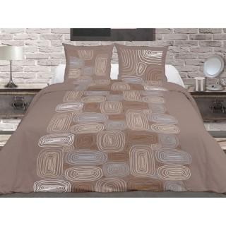 Housse de couette et 2 taies d'oreiller Terra Nova Taupe - 240 x 260 - 100% Coton