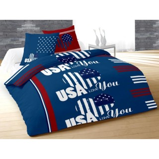 Housse de couette et 2 taies d'oreiller USA Love Bleu - 220 x 240 - 100% Coton