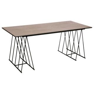 Table diner Modern - Longueur 180 cm - Naturel et noir