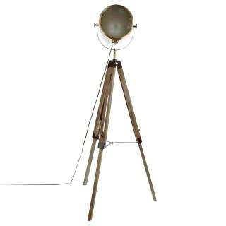 Lampadaire bois et métal Ebor - Hauteur 152 cm - Marron