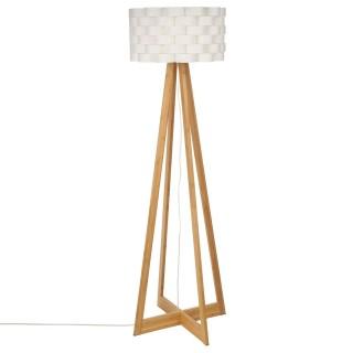 Lampadaire bambou Moki - Hauteur 150 cm - Blanc