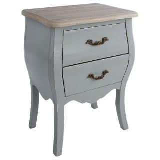 Table de chevet 2 tiroirs Charme - Hauteur 62 cm - Gris