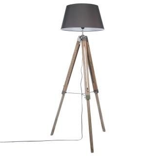 Lampadaire trépied bois - Hauteur 145 cm - Gris