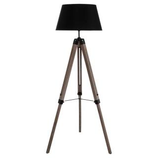Lampadaire trépied bois - Hauteur 145 cm - Noir
