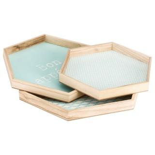 3 plateaux hexagonaux Lovely - Bleu clair