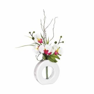 Composition florale vase blanc - Hauteur 44 cm - Orchidée fleur rose