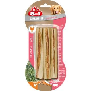 3 Sticks à mâcher Delights - Viande de Porc - Taille XS et M