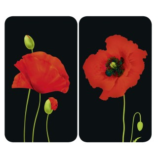 2 Couvres-plaques universel Coquelicot - 52 x 30 cm - Multicolore