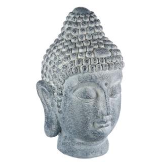 Statue tête de bouddha - 32 x 29 x 52 cm - Gris