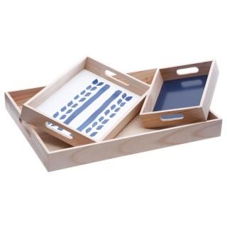 3 plateaux en bois Craft Story - Bleu