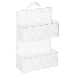 Etagère panier 2 niveaux à suspendre - H. 37 cm - Blanc