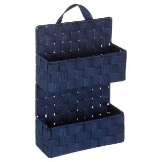 Etagère panier 2 niveaux à suspendre - H. 37 cm - Bleu foncé