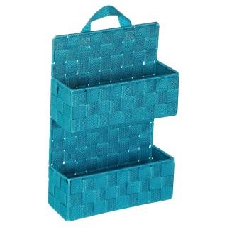 Etagère panier 2 niveaux à suspendre - H. 37 cm - Turquoise