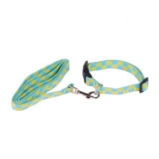 Collier laisse pour chien - Taille S - Bleu et jaune