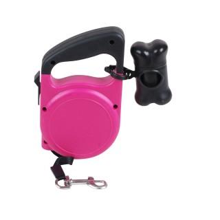 Laisse automatique pour chien avec accessoires - 5 m - Rose