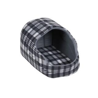 Panier pour chien avec toit Ecossais - Taille M - Gris