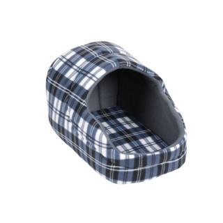 Panier pour chien avec toit Ecossais - Taille M - Bleu