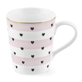 Mug avec poignée à Rayures et Coeurs - Rose