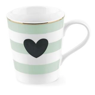 Mug avec poignée à Rayures et Cœur - Vert