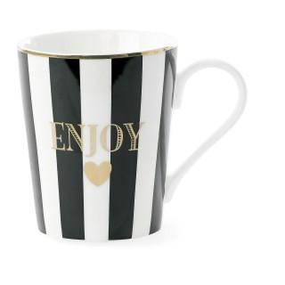 Mug avec poignée à Rayures Enjoy - Noir