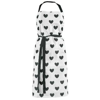 Tablier en coton Gros Cœurs - Noir et blanc