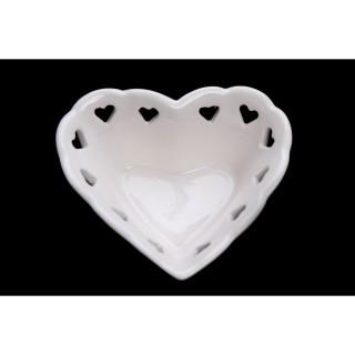 Bol en cœur - 7 x 8 cm - Blanc