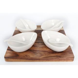 Set apéritif - Planche avec 4 bols - 24 cm