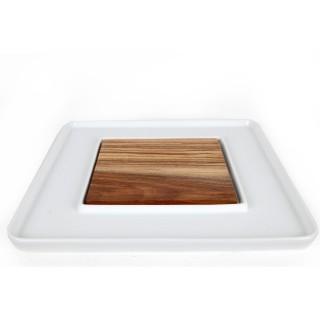 Plat avec plateau central - 33 x 33 cm - Blanc