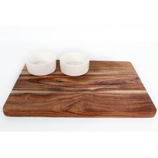 Set apéritif - Planche avec 2 bols - 35 cm