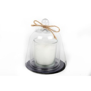 Bougie avec support ardoise et cloche - Blanc