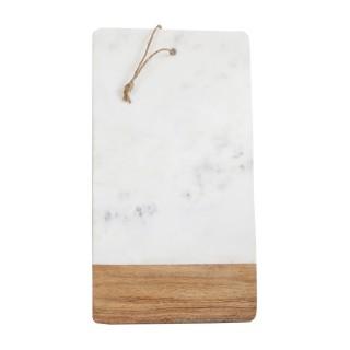 Planche à découper en marbre - 45 x 25 cm - Blanc