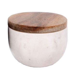 Pot en marbre avec couvercle - Diam. 10,5 cm - Blanc