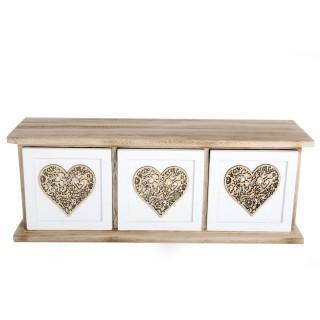 Boîte de rangement à 3 tiroirs - 35,5 x 13,5 cm - Blanc
