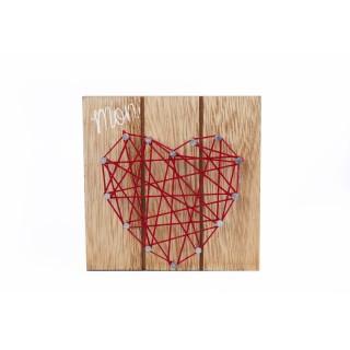Tableau motif cœur - 10 x 10 cm - Rouge