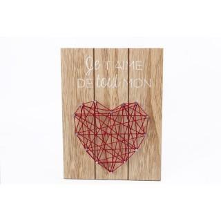 Tableau motif cœur - 20 x 15 cm - Rouge