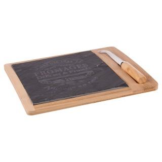 Plateau à fromage avec couteau Bambou - 24 x 24 cm - Marron