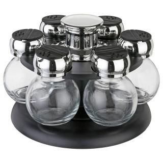 Carrousel à épices - 6 pots - Support rotatif gris foncé