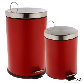 2 Poubelles à pédale - 20 L et 5 L - Rouge