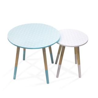 2 Tables Gigognes Mobiliers Design - Vert et blanc à motifs