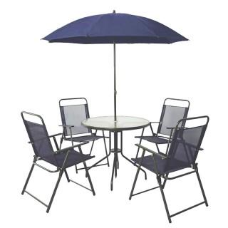 Salon de jardin Texas - 4 places - Bleu foncé